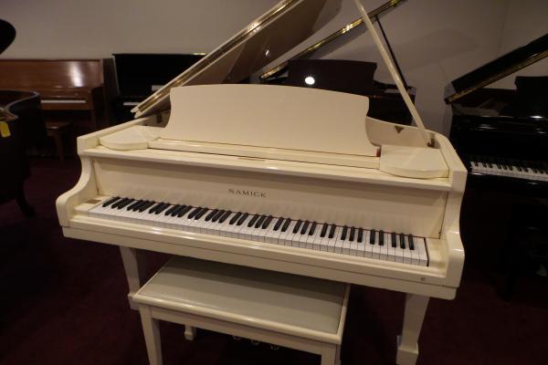 Samick Polished White Grand Piano