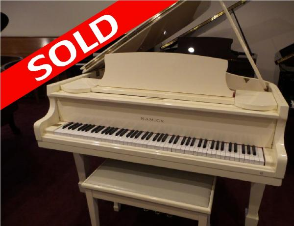 Samick Polished White Grand Piano